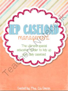 IEP Caseload Management - The Ultimate IEP Special Education Binder from Mrs. D's Corner on TeachersNotebook.com -  (131 pages)  - Being a caseload manager and a teacher of children with special needs is a wonderful experience that, unfortunately, includes tons of special education jargon and paperwork that can sometimes become overwhelming. This binder is your key to tidying up your
