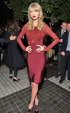 This may be Taylor Swift's most mature look yet! Gorgeous color! #fashion