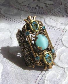Antique Style Victorian Edwardian Deco Aquamarine Moonstone Ring