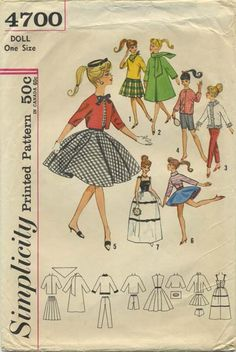 Vintage Barbie™ Doll Clothes Sewing Pattern  | Weekend Wardrobe for Teen Model Dolls Babette, Mitzi, Gina, Babs, Kay, Polly Jr., Tina, Tina Marie, and Barbie | Simplicity 4700 | Year 196? | One Size