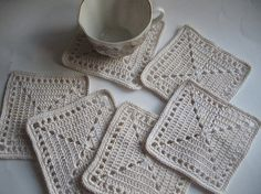 Crochet Coasters in natural beige Set of 7 Drink Mats Doiles Of Cotton