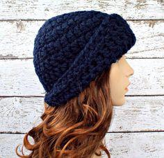 Garbo Cloche Hat in Navy Blue