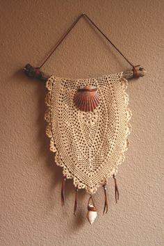 fionna.  a feminine sea inspired bohemian doily dreamcatcher.. $48.00, via Etsy.