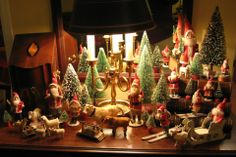 Vintage Santas, bottle-brush trees and putz animals.  Composition, celluloid, etc... from Germany and Japan