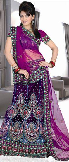 Violet #Velvet A-Line #Lehenga Choli with Dupatta @ $180.80 | Shop @ http://www.utsavfashion.com/store/sarees-large.aspx?icode=ssl2022