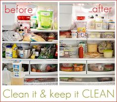 How to clean and keep your fridge CLEAN.  Awesome and easy tips!