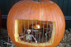Carved pumpkin jail