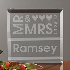 This Mr. & Mrs. Personalized Crystal Keepsake would make a beautiful cake topper!! What a great wedding gift idea, too! It's only $39.95 at PMall! #Wedding #CakeTopper