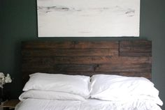 Industrial and Elegant Reclaimed Wood Headboard/ by WeeksWayfaring