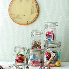 Clear vinyl labels for glass jars - ideal for storing sewing & craft odds and ends.