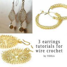christmas -wish:  CROCHET jewelry PATTERN 3 Wire earrings PDF  tutorials  sunflower hoops drop earrings wire jewelry patterns wire work how to crochet wire. $19.90, via Etsy.