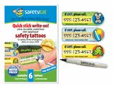 QuickStick Write-On Safety Tattoo - Multi 6 Pack