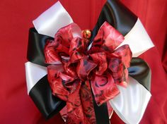 Black and White Satin with red roses ribbon by creativelycarole, $52.00