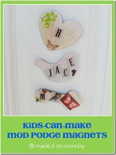 Kids can make Mod Podge magnets!