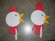 See what we did today: Hand print Rooster Puppet farm classroom, handprint, art crafts, farm crafts, puppet, hand print crafts, farm theme, farm animal crafts, chicken crafts
