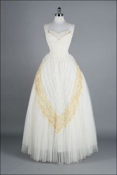 vintage 50's ruched tulle wedding dress $1150