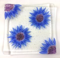 Cornflower Fused Glass Bowl by BlueFairyDesigns on Etsy