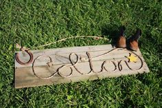 Western+crafts | western rope art rustic wood name sign by sparklesnrust on Etsy