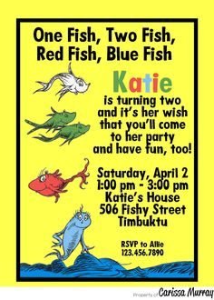 Custom Printable Dr Seuss One Fish Two Fish Birthday