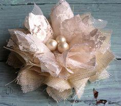 Custom Made Linen & Lace Fabric Flower, Ivory, Rustic, Wedding Decorations, Headband Flowers, Linen Fabric, Fabric Flower Brooch, OOAK