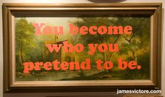 "You become who you pretend to be.  55""x31"" (Screen print on painting)  $SOLD  #jamesvictore"
