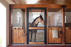 Lucas Equine horse stall with understated sides and a bold door.