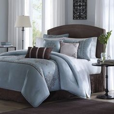 victorian collections chocolate brown blue-bed in a bag | 7pc Fontain Icy Blue and Brown Cal King Comforter Bedding Ensemble ...