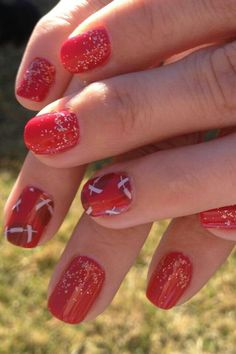 Footballs on clear (over red polish).  Clear wraps can also be layered over Jamberry wraps.  GBR!