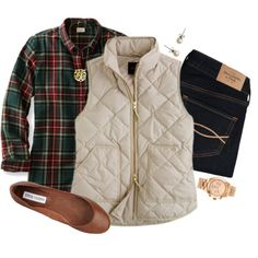 quilted vest and flanel, created by jordanawarren on Polyvore