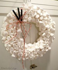 Christmas Open House Tour - filled with tons of unique Christmas decorating ideas like this marshmallow wreath!  eclecticallyvintage.com