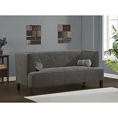 @Overstock - Complete your living room with this Cape sofa. This sofa includes two bolster pillows showcasing a zigzag pattern in shades of charcoal, grey and muted blue.http://www.overstock.com/Home-Garden/Charcoal-Cape-Sofa/5216055/product.html?CID=214117 $493.99