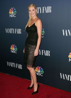 Katherine Heigl sexy on the red carpet for NBC in a slinky little black something and high heels