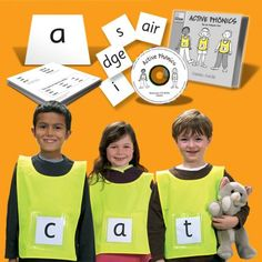 Active Phonics Kit -helps teachers take an active approach to phonics teaching for early years and KS1 children. The set includes tabards with plastic pockets, phoneme and grapheme cards . This kit is ideal for outdoor and indoor phonics activities and the games guide was written by Teacher and phonics trainer Jaz Ampaw-Farr