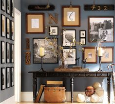 like this color and wall display, goes perfectly w/ our theme