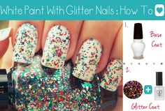 Absolutely adorable white glitter Nails. Easy DIY Nail Art Tutorial.