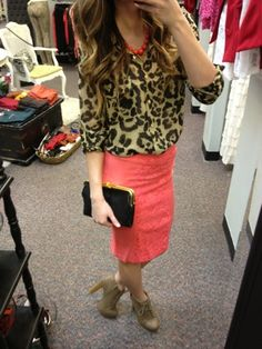 Coral Necklace, Leopard blouse, Coral Pencil Skirt, clutch... Spring.   www.sexymodest.com