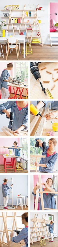 Weekend do it your self, ladder shelving. #DIY #handmade #craft #howto #tutorial @handmakemylife #shelving #decor