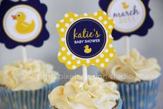 rubber ducky baby shower printables in navy + yellow  {more items in Etsy shop: Posh Pixels}