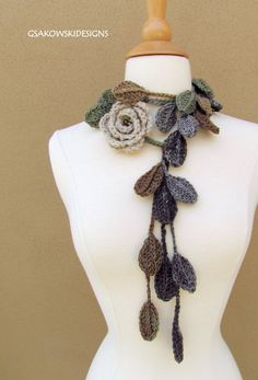 Scarf flowers and leaves, I would love to make this sometime