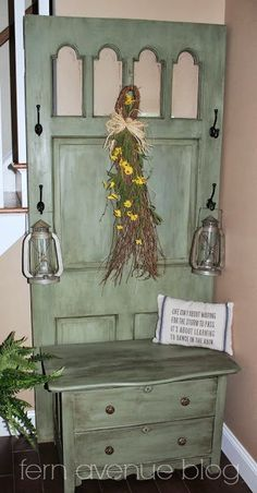 DIY hall tree: repurposed from 5 dollar dresser and old door!