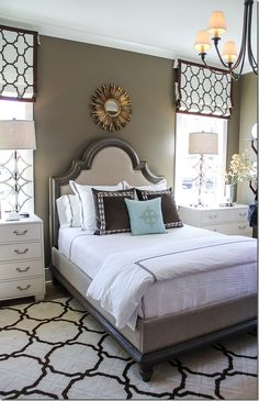 """What do you think of the latest in Master Bedroom trends? Cozy with bold geometric prints. Creamy white, timeless taupe and rich chocolate brown. Shaw Floors """"Essex Trellis"""" in Cocoa."""