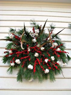 Cotton Boll Christmas Wreath....Love this!