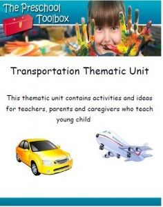 Transportation Theme:  Literacy, Math, Science, Gross Motor, Dramatic Play, Arts & Crafts, Songs/Fingerplays, and an extensive book list.  All pdf files/Power Points included. #preschool #kindergarten