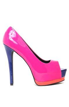 color block peep toe heels $31.50