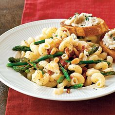 Pasta with Asparagus, Pancetta, and Pine Nuts | CookingLight.com