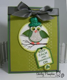 Stampin' Up! Owl Punch   by Shirley P at Look At My Cute Stuff: Patrick's Day wedding cards, owl punch cards, pumpkin, st patricks day, diy gifts, handmade gifts, hand made, glitter, hat