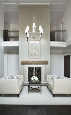Neutral theme room with high ceiling
