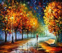 """Fall Marathon"" Leonid Afremov Mixed Media/oil on Canvas gorgeous 30""x40"" Comes Stretched!"