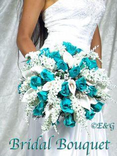 Bridal Bouquet #TEAL #wedding #bouquets #flowers