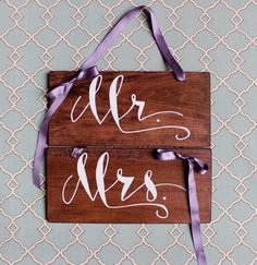 Purple Wedding Color Mr. and Mrs. Wedding Chair Signs on Etsy, $30.00
